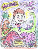 Dinosaur, Kid's Theme Parties, Action Caricatures by Bill  Phoenix, Scottsdale, Tempe, Chandler, Glendale, Mesa, Gilbert