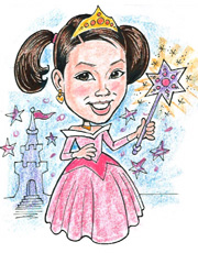 Birthday Gift, Princess Caricature, Gift Caricatures by Bill Wylie, Caricature from a photo, Action Caricatures by Bill
