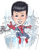Kid's Superhero Gift Caricature Spider-Man