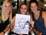 Sweet 16 Caricature of 3 girls in black and white by Action Caricatures by Bill