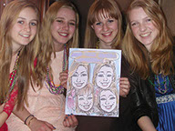 Sweet 16 Caricature, Color, 4 Girls