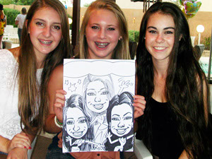 Sweet 16 Party Caricature, Group of 3 Girls drawn by Action Caricature by Bill
