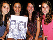 Sweet 16 Party Caricature, Group of 4 GIrls, Action Caricature by Bill